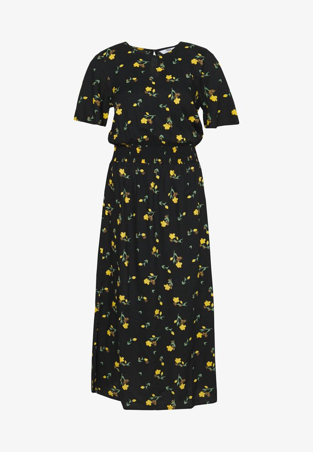 TALL PRINT SHIRRED WAIST MIDI DRESS - Day dress - black