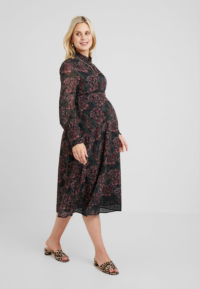 LONGSLEEVE A LINE DRESS - Day dress - red/black