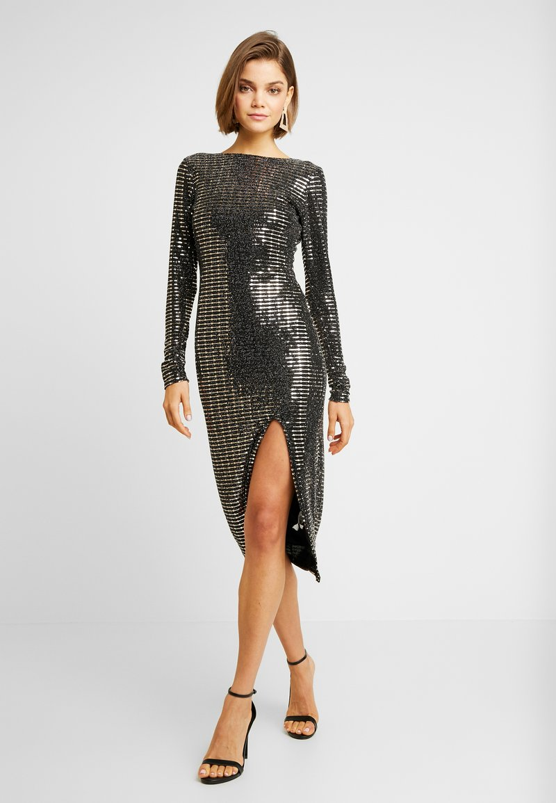 Missguided - SEQUIN OPEN BACK BODYCON MIDI DRESS - Cocktail dress / Party dress - black
