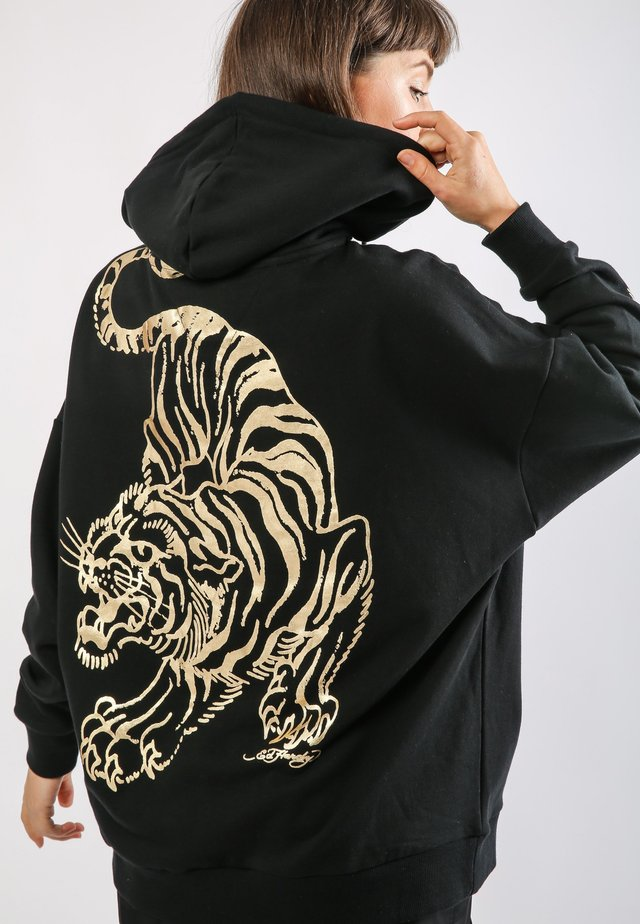 TIGER-GIANT POUCH HOODY - Hoodie - black