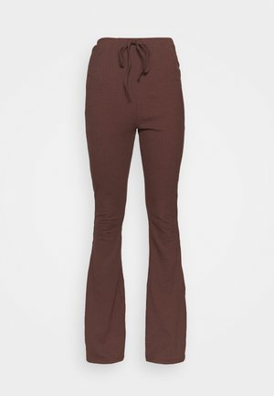 CUT AND SEW FLARED TROUSERS - Legíny - brown melange