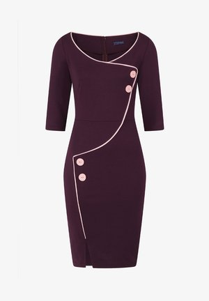 CHELSEA DRESS WITH BUTTONS - Day dress - damson ponte and light pink