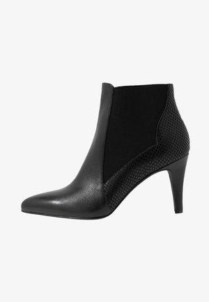 LEATHER BOOTIES - Korte laarzen - black