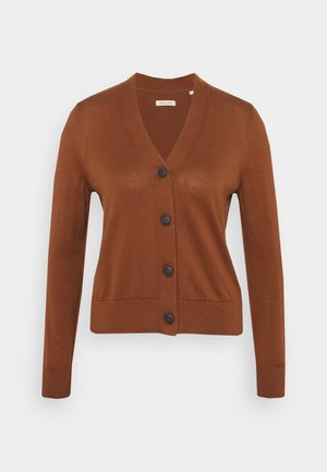 CARDIGAN LONG SLEEVE V-NECK BUTTON - Cardigan - chestnut brown