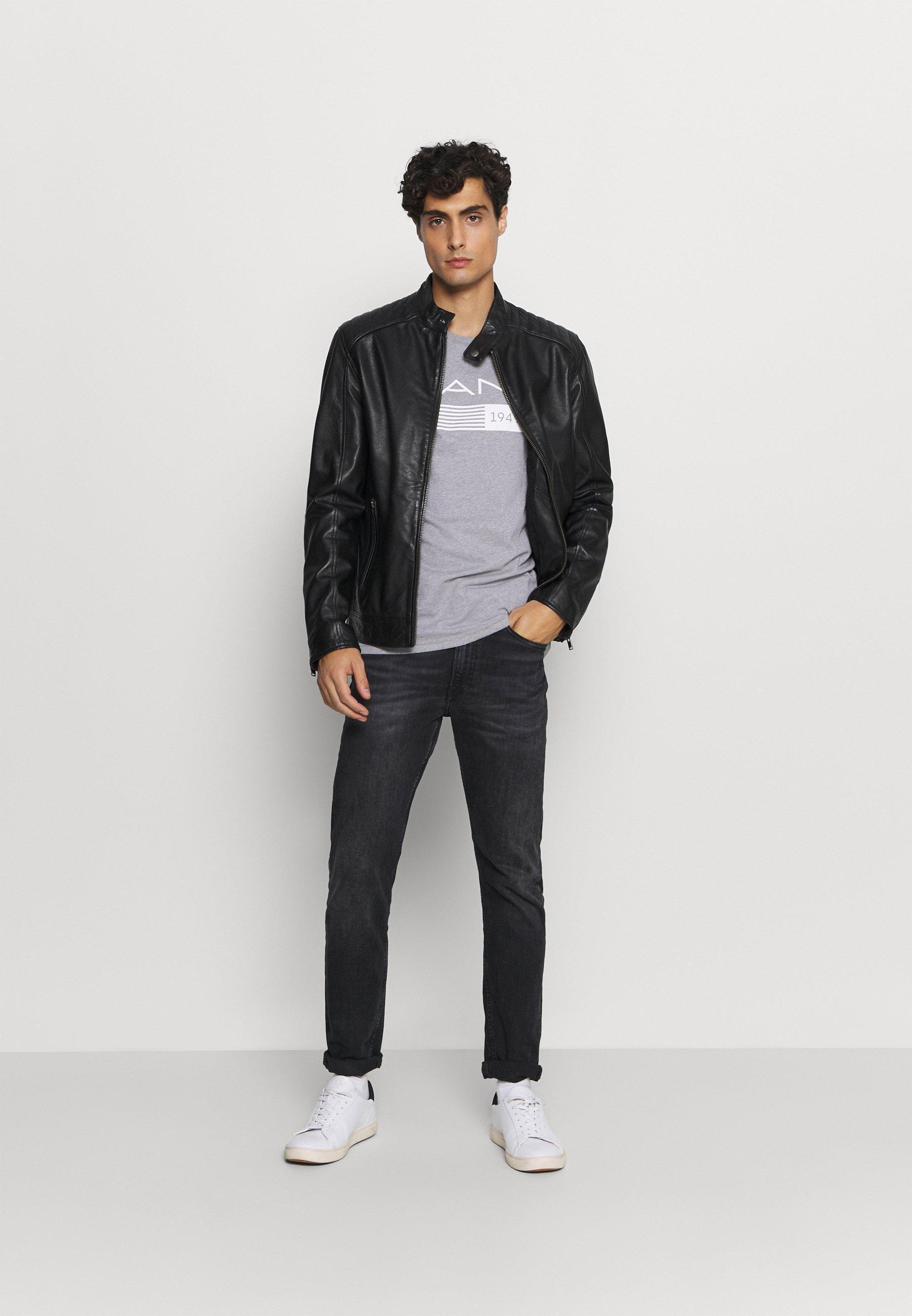 Gant Stripes - T-shirts Med Print Grey Melange/lysgrå