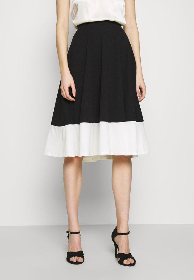 CHARLIE CONTRAST SKATER SKIRT - A-line skirt - black/white