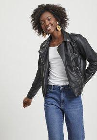 Vila - VICARA FAUX JACKET - Faux leather jacket - black - 0