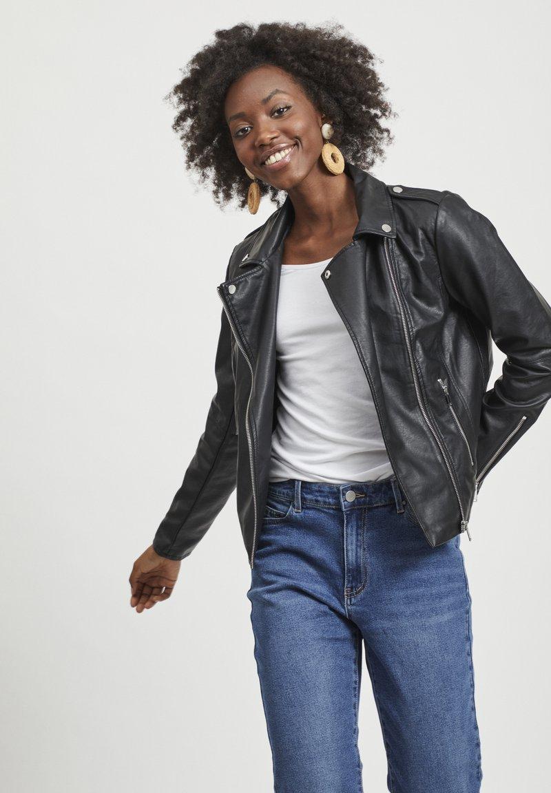 Vila - VICARA FAUX JACKET - Faux leather jacket - black