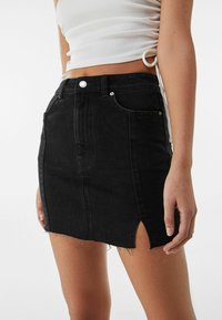 Bershka - Denim skirt - black - 3