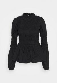 Dorothy Perkins - SHIRRED BODY LONG SLEEVE BLACK FLORAL TOP - Blouse - black - 0