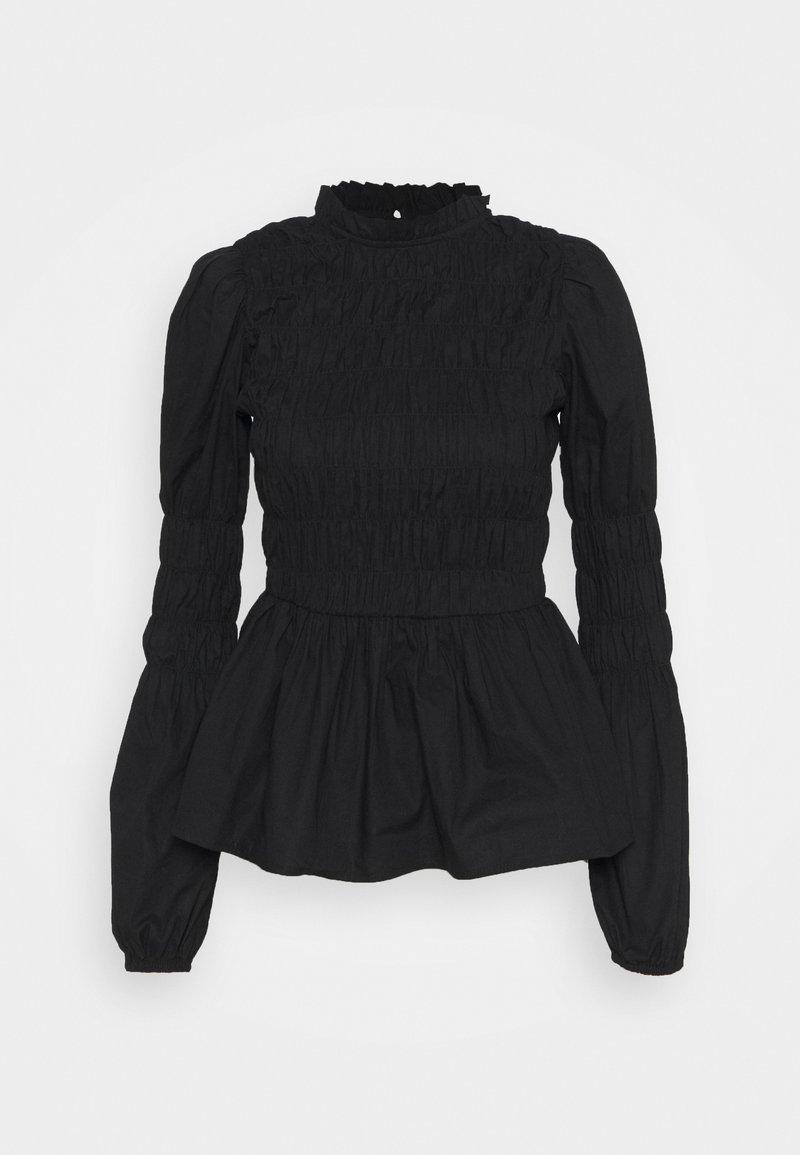 Dorothy Perkins - SHIRRED BODY LONG SLEEVE BLACK FLORAL TOP - Blouse - black
