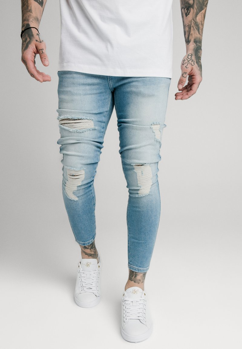 SIKSILK - DISTRESSED SUPER - Skinny džíny - light wash denim