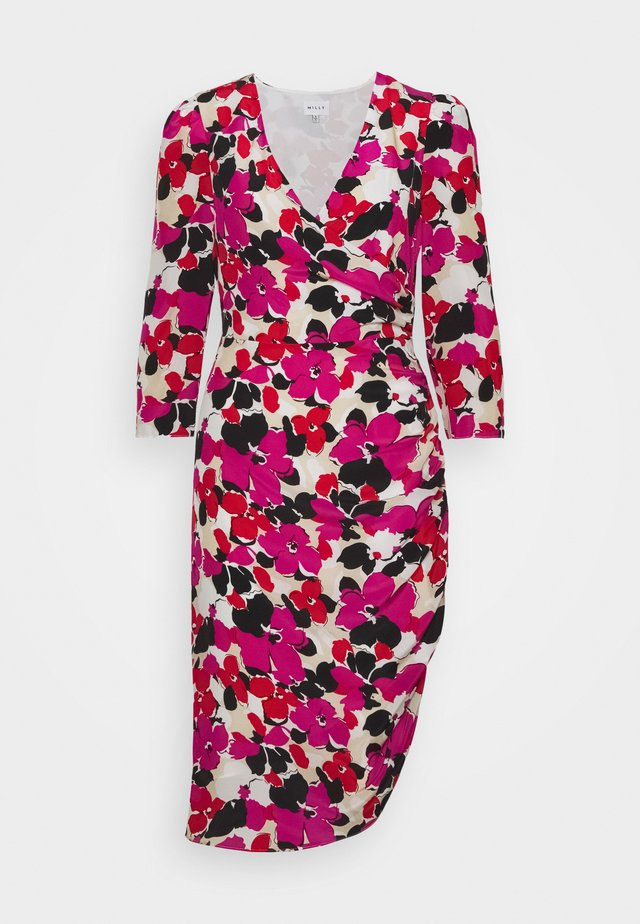 ELEANORA VIOLA PRINT DRESS - Korte jurk - ecru/multi