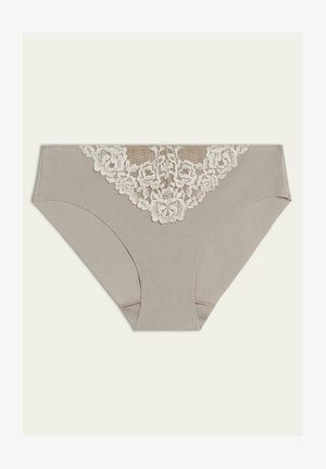 MIT OFFENEN KANTEN PRETTY FLOWERS - Briefs - dust beige/ white cream