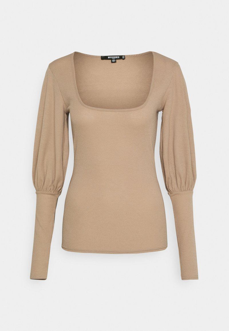 Missguided Tall - PUFF SLEEVE SQUARE NECK MILKMAID - Long sleeved top - macoron