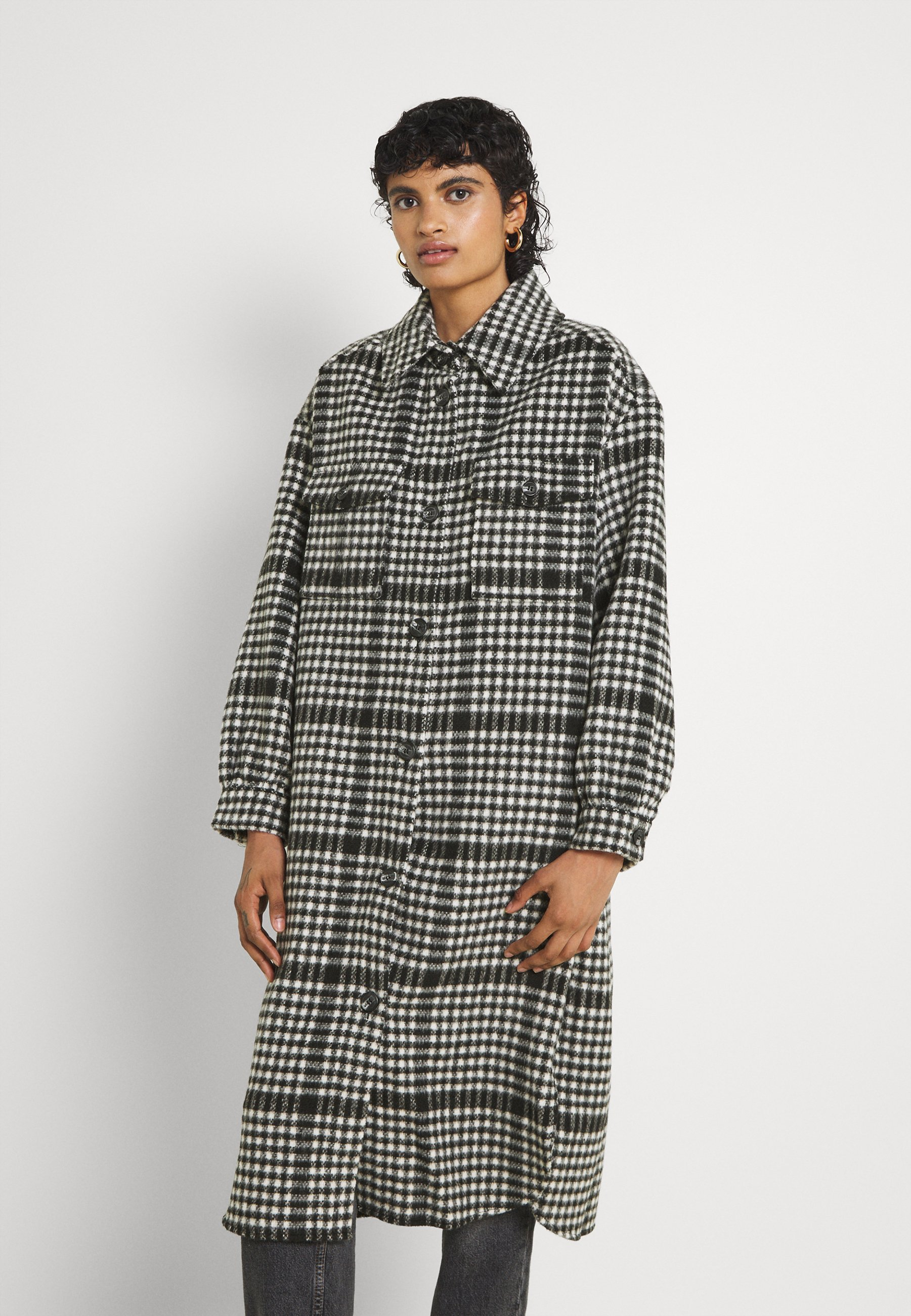 Women ONLLOU LONG CHECK SHACKET - Classic coat