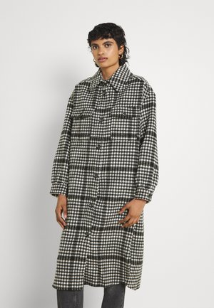 ONLLOU LONG CHECK SHACKET - Classic coat - black/white