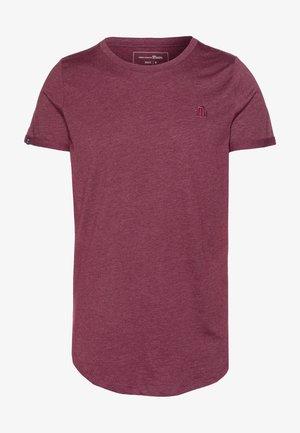 LONG BASIC WITH LOGO - T-shirt basic - deep burgundy melange