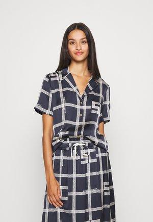 Button-down blouse - dark blue/white