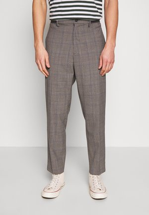 RELAXED TROUSERS CHECK - Pantalones - grey/blue