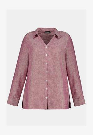Leinen - Button-down blouse - magnolienrot-melange