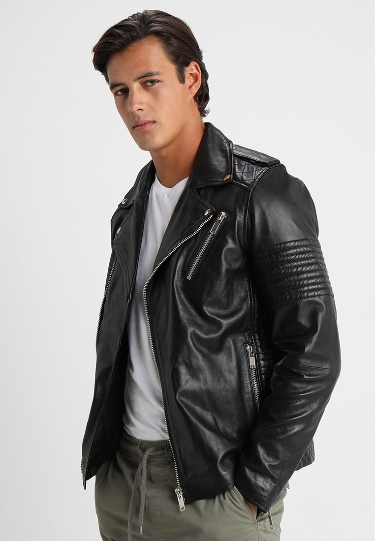 Solid - TRENT - Leather jacket - black