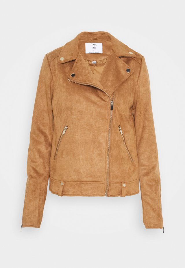 TALL SUEDETTE BIKER - Faux leather jacket - tan
