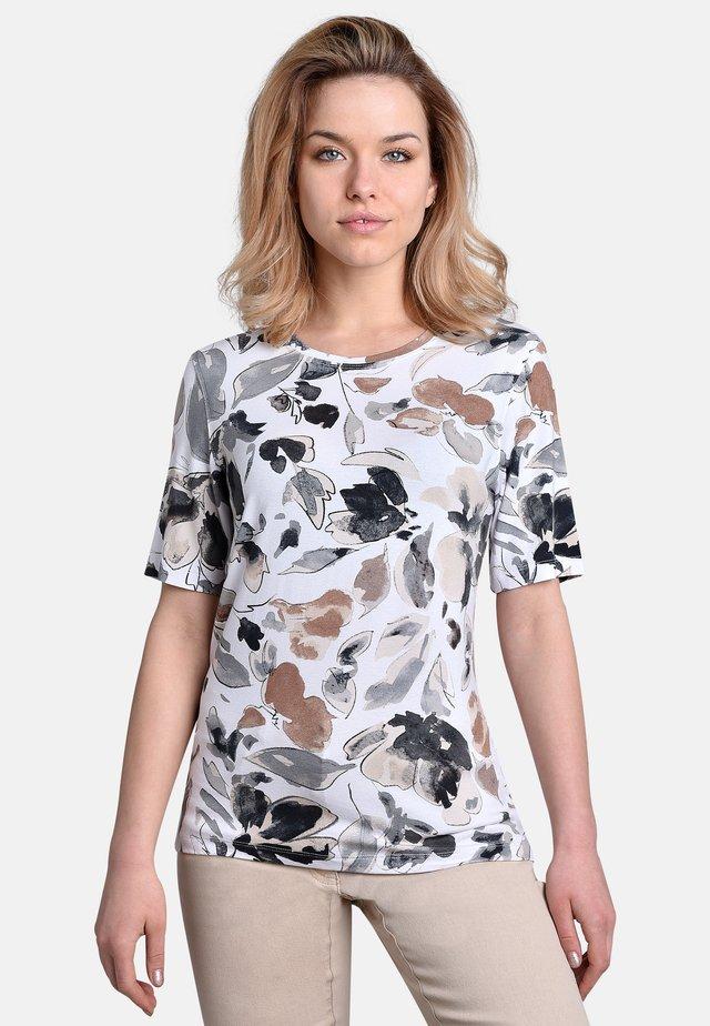 T-shirt print - white-beige-black