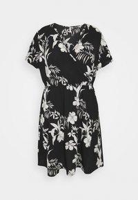 ONLY Carmakoma - CARLUXINA WRAP KNEE DRESS - Day dress - black - 0