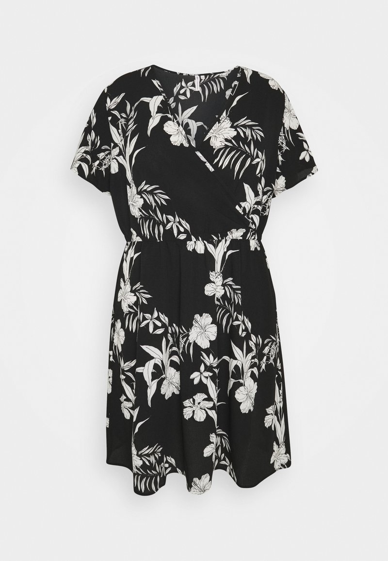 ONLY Carmakoma - CARLUXINA WRAP KNEE DRESS - Day dress - black
