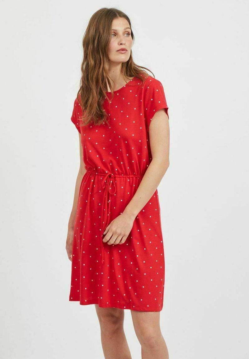 Vila - VIMOONEY STRING - Jersey dress - mars red
