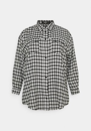 OVERSIZED CHECK  - Button-down blouse - black