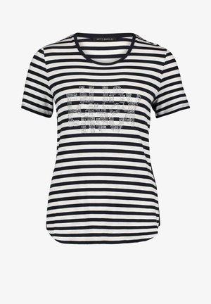 MIT SCHMUCKSTEINEN - Print T-shirt - dunkelblau/weiß