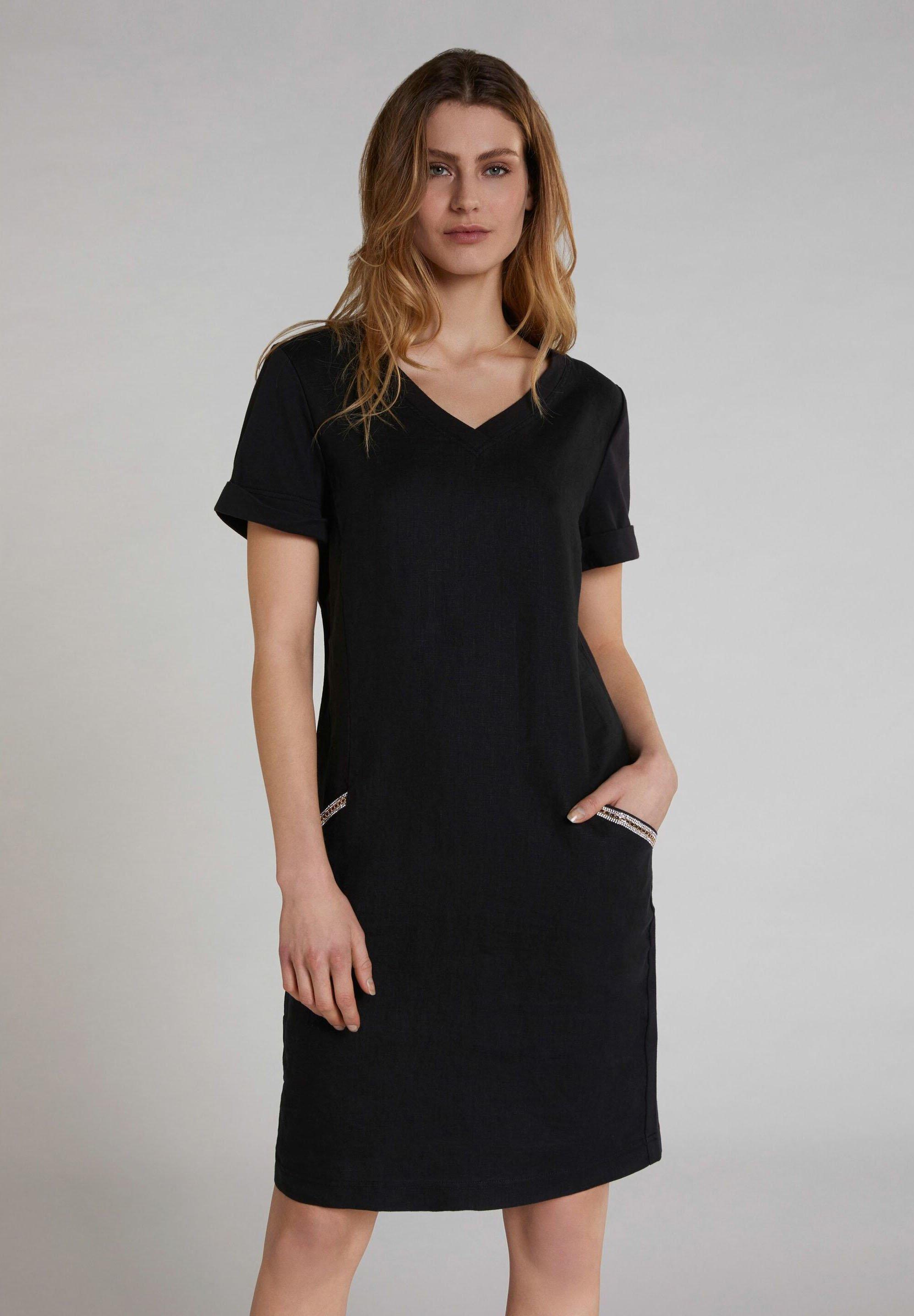 leinenmischung - jerseykleid - black