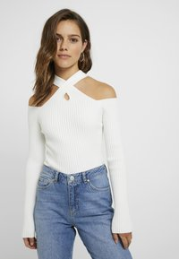 4th & Reckless Petite - STATE LONG SLEEVED HALTERNECK JUMPER WITH CROSS  - Jumper - white - 0