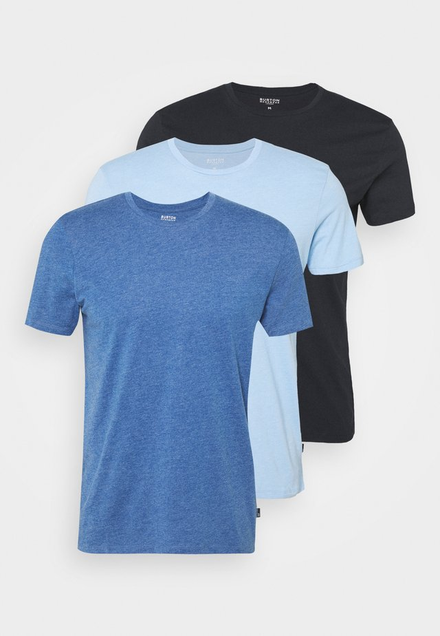3 PACK - T-shirt basic - blue/light blue/dark blue