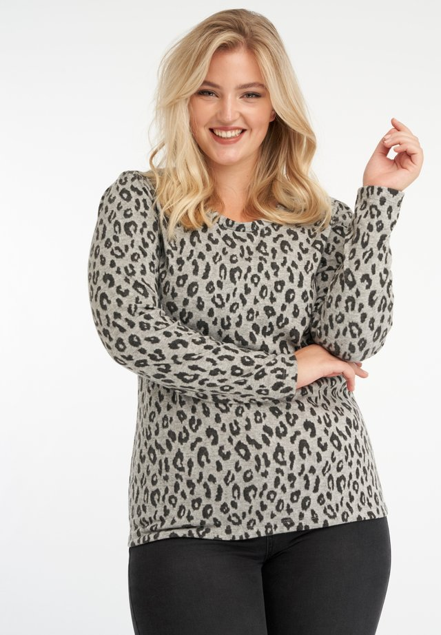 WITH LEOPARD-PRINT - Longsleeve - grey