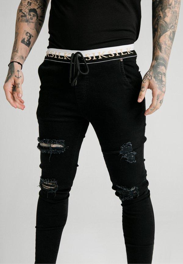 SIKSILK SIKSILK DELUXE LOW RISE - Jeansy Skinny Fit - black/czarny Odzież Męska TTJS