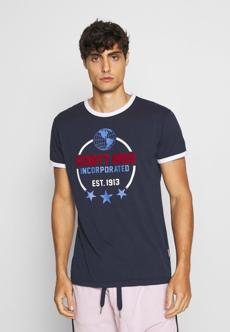 Schott - Print T-shirt - navy