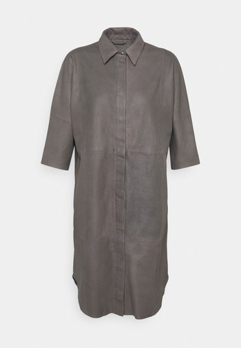 LONG SHIRT DRESS - Shirt dress - concrete