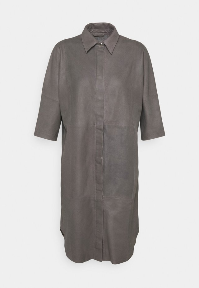 LONG SHIRT DRESS - Shirt dress - concrete