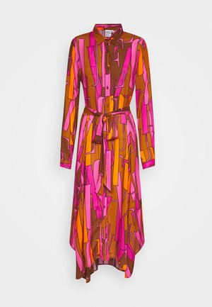 Shirt dress - camel/pink