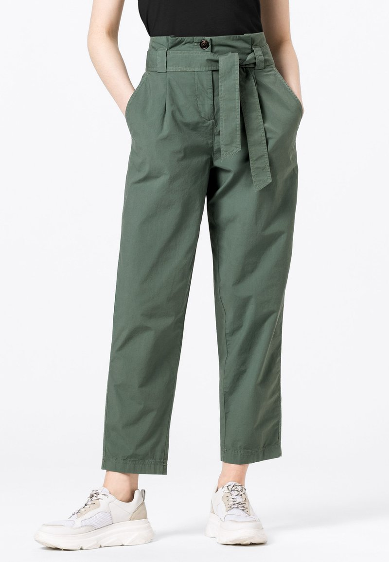 HALLHUBER - PAPERBAG - Trousers - seegrün