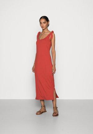 TIE DRESS - Jersey dress - terracotta