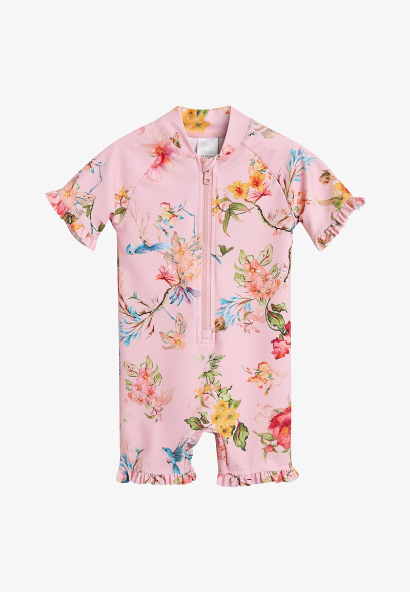 Next - PINK FLORAL SUNSAFE SUIT (3MTHS-7YRS) - Plavky - pink