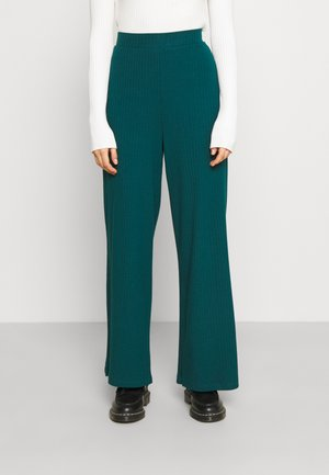 Ribbed Wide Leg Trousers - Trousers - teal
