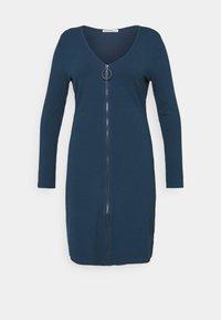 Glamorous Curve - ZIP THROUGH LONG SLEEVE DRESS - Pletené šaty - navy - 3