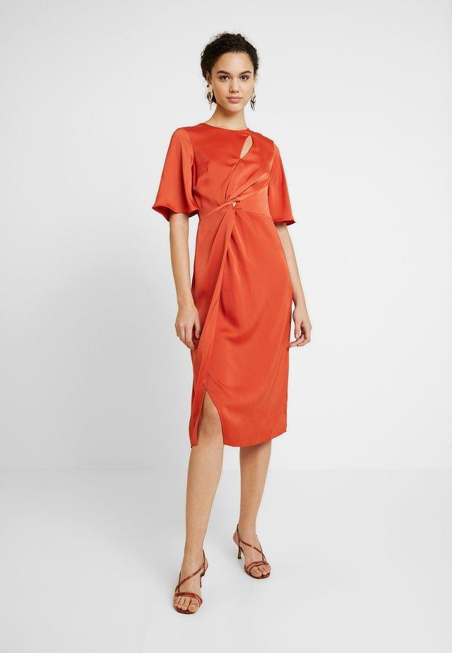 KNOT SIDE MIDI DRESS - Day dress - orange
