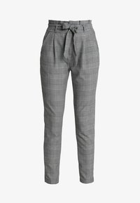 Vero Moda - VMEVA PAPERBAG CHECK PANT - Trousers - grey/white - 4