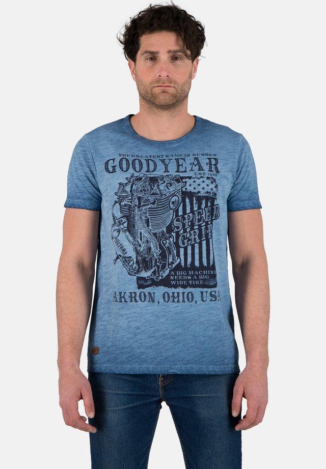 Print T-shirt - dirty blue